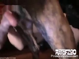 Masked whore sucks and fucks with dog in rough modes