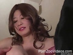 Japanese with hairy pussy brutal sex with a dog