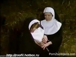Amateur nuns enjoying donkey for private zoophilia xxx pleasures