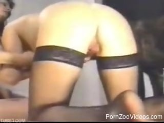 Two females are pleasing their doggy in 3some mode