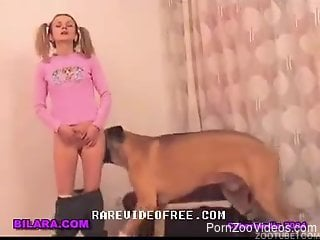 Sex with the dog on the floor by a naughty wife