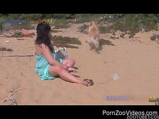 Chubby brunette getting violated by a big-dicked dog outdoors