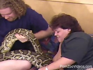 Beautiful bestiality session with snakes and fat people