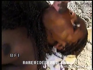 Ebony is sucking tasty stallion dick and getting the load