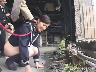 Japanese cutie gives her doggy a blowjob in hands free mode