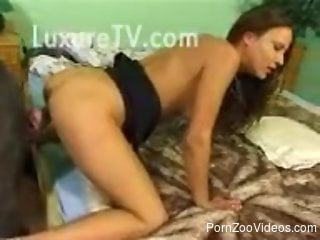 Leggy babe getting fucked by a black beast on all fours
