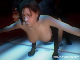 Resident Evil hottie getting fucked by a mutated dog