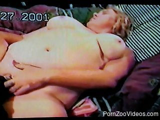 Big boobs blonde getting licked by a black dog