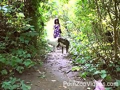Outdoor sexual fun with the dog in intimate XXX action