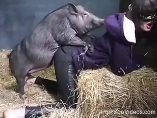 Chick in ripped pants enjoying hardcore sex with a pig
