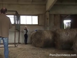 Flexible zoophile gets destroyed by a huge horse dick