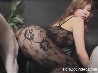 Bodysuit-wearing babe getting screwed on all fours